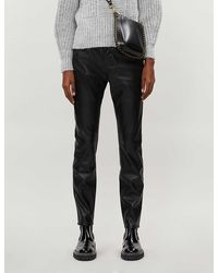 Claudie Pierlot Paname High-rise Tapered Faux-leather Jeans - Black