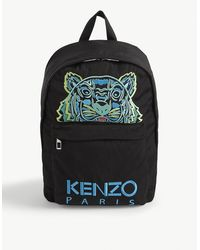 KENZO Tiger Embroidered Logo Nylon Backpack - Black