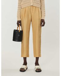 Vince Cropped Silk-satin Pants - Natural