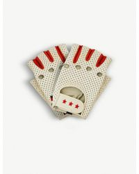 Tommy Hilfiger X Gigi Hadid Perforated Leather Racing Gloves - White