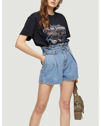 TOPSHOP High Waist Paperbag Waist Denim Shorts - Blue