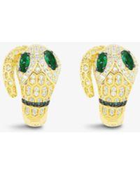 Apm Monaco - Serpent Yellow-tone Sterling Silver, Zirconia And Green Nano Earrings - Lyst