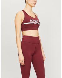Tommy Sport Logo-print Stretch-jersey Sports Bra - Red