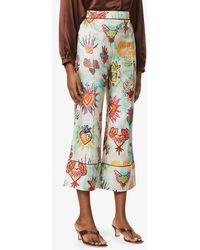 Zimmermann Flaming Graphic-print High-rise Silk Trousers - Multicolour