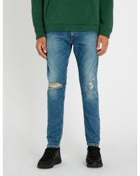 DIESEL - Tepphar Distressed Slim-fit Tapered Jeans - Lyst