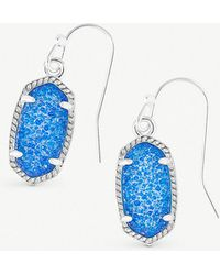 Kendra Scott - Lee 14ct Rhodium-plated And Cobalt Drusy Stone Earrings - Lyst