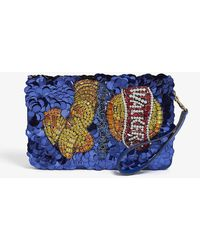 Anya Hindmarch Walkers Sequin Clutch Bag - Blue