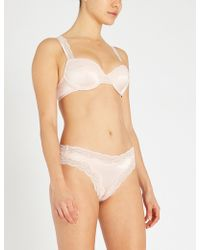 Stella McCartney - Clara Whispering Contour Balcony Satin And Lace Bra - Lyst