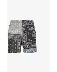 Aape Bandana-print Cotton-blend Jersey Shorts - Black