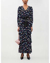 Olivia Rubin Eveline Floral-pattern Silk-satin Maxi Dress - Blue