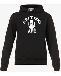 A Bathing Ape University Logo-print Cotton-jersey Hoody - Black