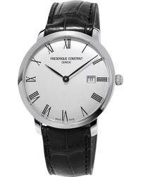 Frederique Constant - Fc306mr4s6 Stainless Steel And Leather Slimline Watch - Lyst