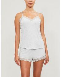 The White Company Lace-trim Stretch-jersey Pajama Set - Gray