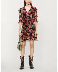 The Kooples Floral-print V-neck Chiffon Wrap Dress - Multicolour