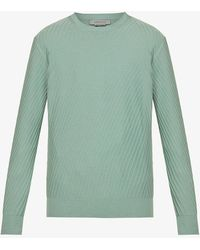 Corneliani Embroidered-pattern Relaxed-fit Cotton-knit Jumper - Green