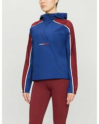 Tommy Sport Colour-blocked Hooded Shell Jacket - Blue