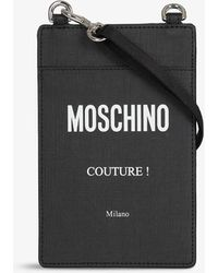 Moschino Logo-print Faux-leather Cross-body Pouch - Black