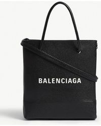 Balenciaga - Black And White Aj Grained Leather Tote Bag - Lyst
