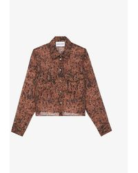 The Kooples Sport Graphic-print Cropped Crepe Shirt - Brown