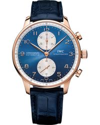 Iwc - Iw371488 Portugieser Chronograph Alligator Leather And Rose Gold Watch - Lyst