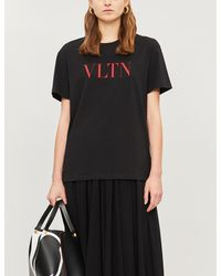 Valentino Logo-print Cotton-jersey T-shirt - Black