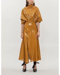 Ellery Cape-sleeves Flared-cuffs Crepe Midi Dress - Multicolor