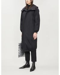 Pleats Please Issey Miyake Pleated Shell-down Coat - Black