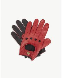 Dents Perforated Leather Driving Gloves - Red