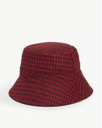 Maje Check Print Bucket Hat - Red
