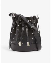 The Kooples Tina Small Brand-embossed Leather Bucket Bag - Black