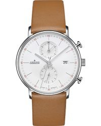 Junghans 041/4774.00 Form-c Stainless Steel And Leather Chronograph Watch - Metallic