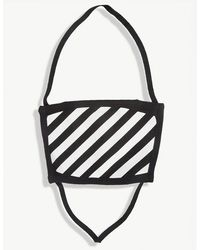 Off-White c/o Virgil Abloh Off White Ladies Black And White Striped Cotton Face Covering Mask