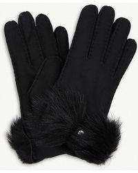UGG - Bow-detail Long Pile Sheepskin Gloves - Lyst
