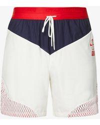 Nike Brand-print Drawstring-waistband Shell Shorts - Blue