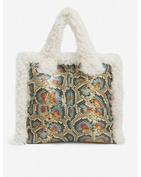 STAND Lolita Faux-shearling And Snakeskin-effect Tote Bag - Multicolor