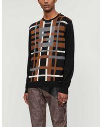 Fendi Check-print Wool Sweater - Black
