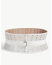 Manish Arora Laser Cut Resin Leather Belt in Pink - Lyst