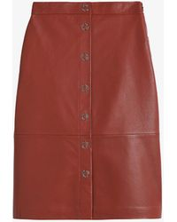 Ted Baker Deetra High-waisted Leather Pencil Skirt - Red