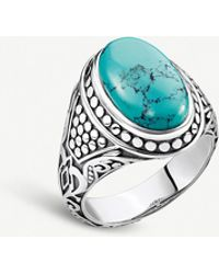 Thomas Sabo Arizona Sterling Silver And Faux-turquoise Stone Signet Ring - Blue