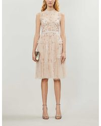 Needle & Thread Shimmer Ditsy Tulle Midi Dress - Natural