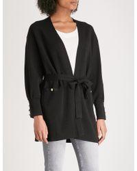 Claudie Pierlot | Button-detail Belted Wool-blend Cardigan | Lyst
