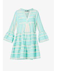 Devotion Ella Embroidered Cotton Mini Dress - Blue