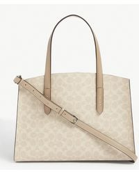 COACH Charlie All-over Logo Leather Tote - Natural