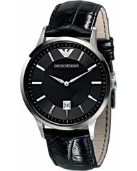 Emporio Armani - Ar2411 Stainless Steel And Leather Watch - Lyst