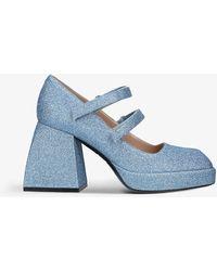 NODALETO Bulla Babies Metallic-woven Platform Sandals - Blue