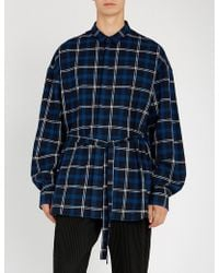 Juun.J - Oversized Checked Cotton Shirt - Lyst
