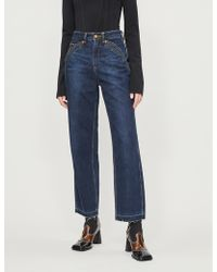Self-Portrait X Lee Cropped High-rise Straight Jeans - Blue