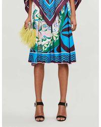 Emilio Pucci High-waist Pleated Signature-print Stretch-cotton Midi Skirt - Blue