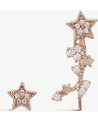 52098185a Olivia Burton - Celestial Star Crawler Rose Gold-plated And  Crystal-embellished Earrings -