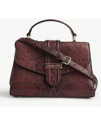 MICHAEL Michael Kors - Bleecker Snakeskin-embossed Leather Shoulder Bag - Lyst
